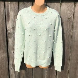 Modcloth Popcorn Sweater Mint Green Speckled Crew